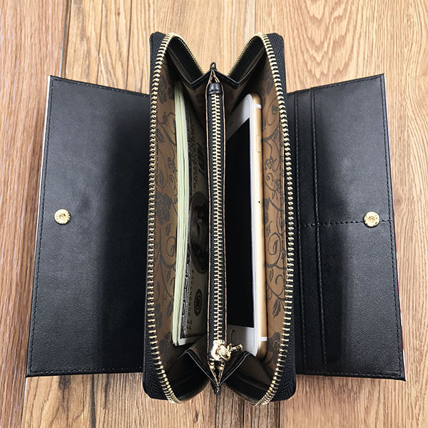 Photo Top-Grain Leather Double Buttons Wallet