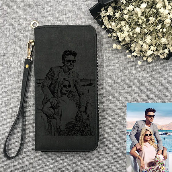 Personalized Sketch Photo Women's Black Wallet