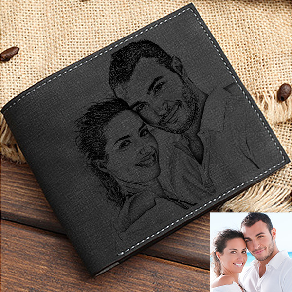 Double-Side Photo Men's Black Wallet